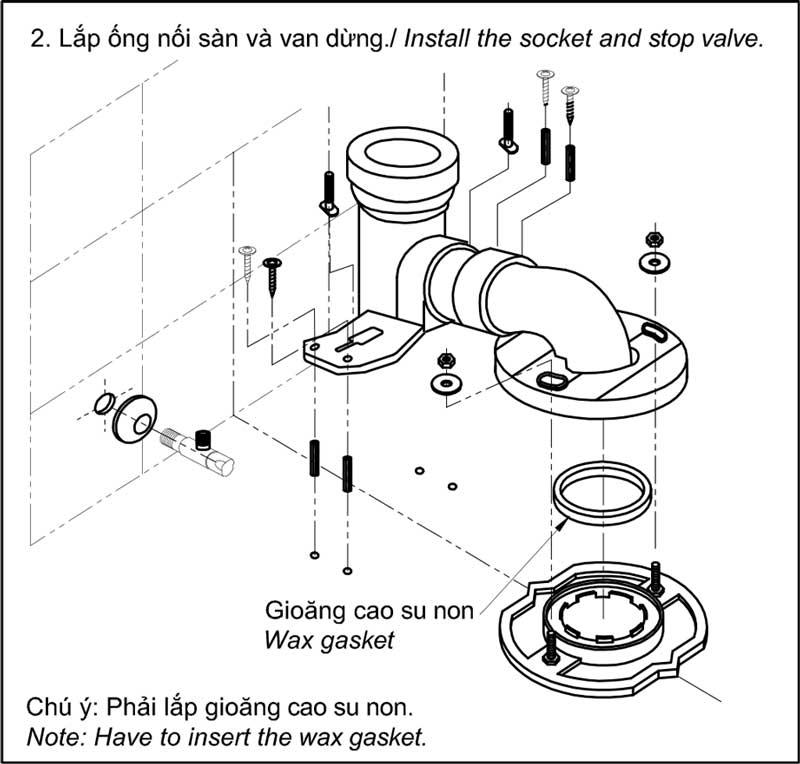Lắp đặt ống nối sàn và van dừng
